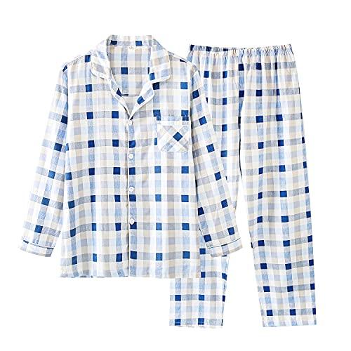 パジャマ メンズ 綿100% 長袖 ルームウェア 寝巻き 前開き 上下セット チェック柄 吸汗 通気性 肌に優しい...