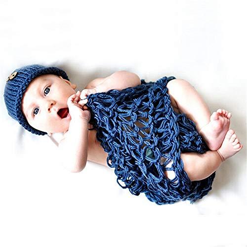 Neugeborenes Baby Foto Kostüm Kinder Fotografie Bekleidung Baby Photographed gestrickte Wollkleidung Baby-Hundred Tag für Junge Mädchen (Farbe : Photo Color, Size : One Size)