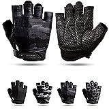 Fitgriff® Guantes de Gimnasio V3 - Hombre y Mujer - para Gym, Fitness, Deporte, Entrenamiento, Powerlifting, Levantamiento de Pesas - Antideslizante - Workout Gloves (Camo-Black, Size 6)