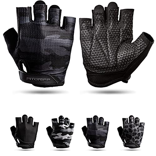 Fitgriff® Guantes de Gimnasio V3 - Hombre y Mujer - para Gym, Fitness, Deporte, Entrenamiento, Powerlifting, Levantamiento de Pesas - Antideslizante - Workout Gloves (Camo-Black, Size 9)