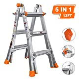 TACKLIFE 13 Feet Aluminum Extension Ladder LD02A, Safe Protective Switch, Non-Slip Rubber Feet, 300lb Load Capacity, Excellent Choice for Home-Use, Outdoor&Indoor, Project