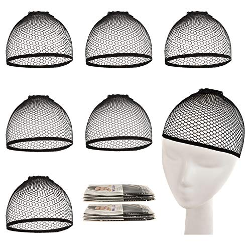 Wig Cap - 6 Pack Black Mesh Wig Caps with Open End Weaving Stretchy Cap for Women/Men Long/Short Hair (Black)