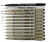 Sakura Pigma Micron Fineliner Stifte 12-teilig Full Range Zeichenset schwarz mit Profi-Pinsel und...