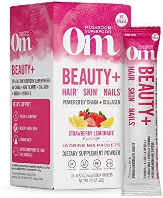 Om Mushroom Superfood Drink Mix Packets Beauty Plus Strawberry Lemonade 2 1 Ounce Chaga King product image