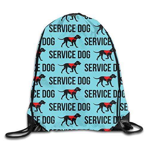 GMGMJ Service Dog - Bolsa de cordón para mujer, hombre, deporte, motocicleta, vehículo, mochila impermeable, bolsa de fútbol, baloncesto, cincha para senderismo, yoga, playa, viajes, escuela, natación