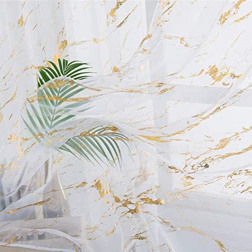 ZYY-Home curtain Rideaux Voile Marbrés Salon Rideau Super Doux Semi Transparent Voile Rideau Décorations,pour La Maison Lot De 2,d'or,W135xL244cm