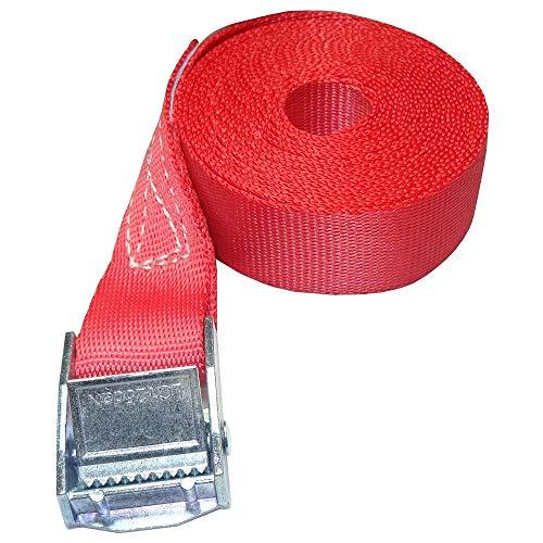 ZurrTec 10 x 250 kg daN 1m Profi Spanngurte mit Klemmschloss 25mm Spannriemen Befestigungsriemen DIN EN 12195-2 (Rot)
