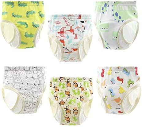PandaEar 6 Pack Unisex Baby Cotton Training Pants Absorbent Potty Pee Underwear Trainers Color product image