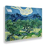 Giallobus - Cuadro - Vincent Van Gogh - Olivos en un Paisaje de montaña - Lienzo - 140x100 - Listo para Colgar - Cuadros Modernos para el hogar