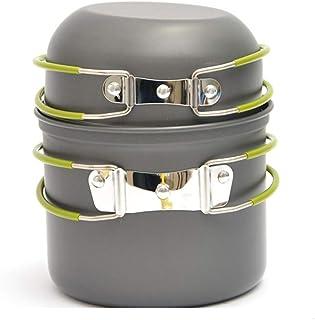 AOKASIX Batería de Cocina para Camping, Aluminio anodizado Sartén (Tapa), Olla y