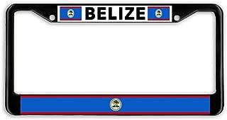 LOHIGHH Belize Flag Black Metal Car Auto License Plate Frame Holder Black