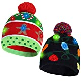 2 Pack Christmas LED Light-up Knitted Beanie Hat Colorful with 3 Flashing Modes for Holiday Xmas Christmas Party Supplies(One Size Fits More) Green, Black