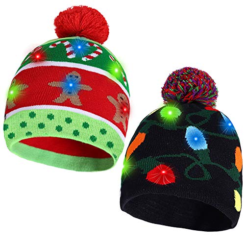 2 Pack Christmas LED Light-up Knitted Beanie Hat Colorful with 3 Flashing Modes for Holiday Xmas Christmas Party Supplies(One Size Fits More)