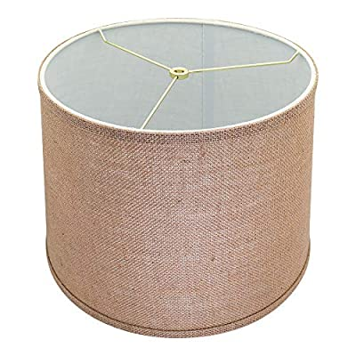 X-Large Mesh Lamp Shades, Alucset Drum Fabric Big Lampshades for Table Lamp and Floor Light,12x14x10 inch,Natural Linen Hand Crafted,Spider (Brown, 1pc)