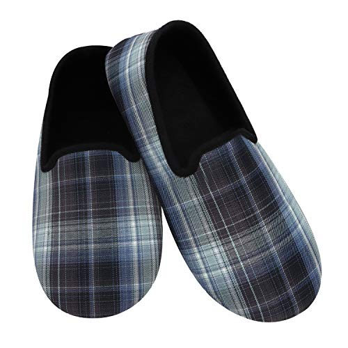Snoozies Mens Slippers - Black Light Weight Plaid - Large