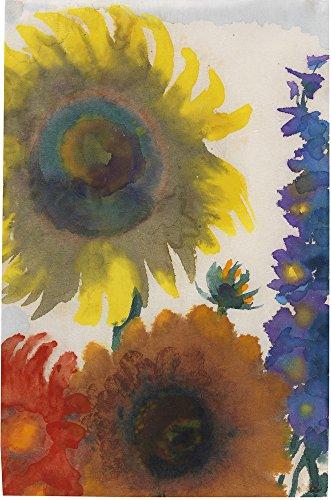Berkin Arts Emil Nolde Giclee Auf Leinwand drucken-Berühmte Gemälde Kunst Poster-Reproduktion Wand Dekoration(Sonnenblumen rittersporn) Große größe 52.9cm x 80cm