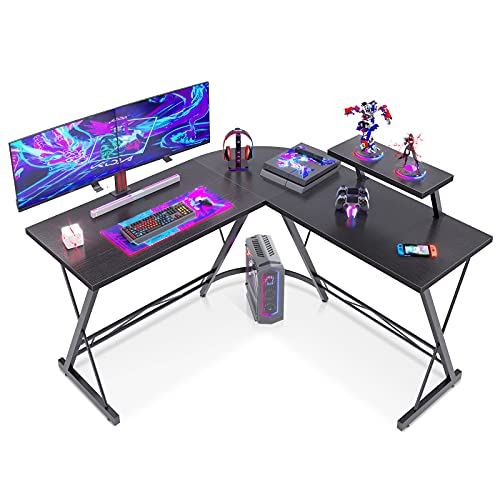 ODK - Escritorio para ordenador en forma de L, moderno y resistente, mesa de oficina, de trabajo, para juegos, con estante para monitor, en color negro, 130 x 130 x 46