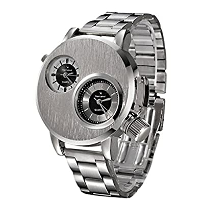 IEason,New Mens Stainless Steel Date Military Sport Quartz Analog Wrist Watch (Silver)