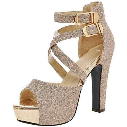RAZAMAZA Mujer Moda Tacon Alto Sandalias Cruzado Fiesta Zapatos Gold Size 39 Asian