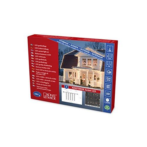 Konstsmide 4814-807 LED Hightech System Erweiterung / Lichtervorhang / für Außen (IP44) / 100 bernsteinfarbene Dioden / schwarzes Softkabel