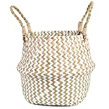 FEILANDUO Cesta de lavandería tejida de mimbre para el vientre, decoración del...