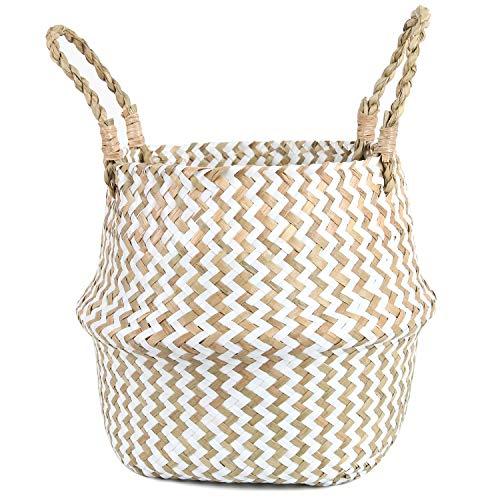 FEILANDUO - Cesta para la colada de mimbre tejida para decoración del hogar, almacenamiento para macetas de frutas, organizador de basura con asa, Blanco, Large
