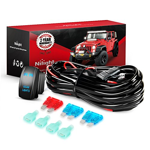 Nilight - 10012W LED Light Bar Wiring Harness Kit REAR LIGHTS 12V 5Pin Rocker Switch Laser On off Waterproof Switch Power Relay Blade Fuse-2 Lead,2 Years Warranty