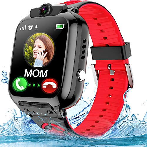 Kids Smartwatch Phone with WiFi/LBS Tracker for Girls Boys with IP67 Waterproof SOS Call Camera Touch Screen Game Alarm Children Digital Wrist Watch Gift Electronic Watch Toys (Red)