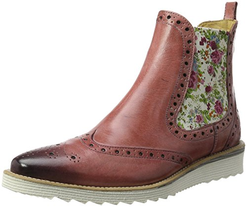 Melvin & Hamilton Damen Amy 12 Chelsea Boots, Pink (Venice Rose Ela. Off White FLORAL Cut Angle White), 41 EU