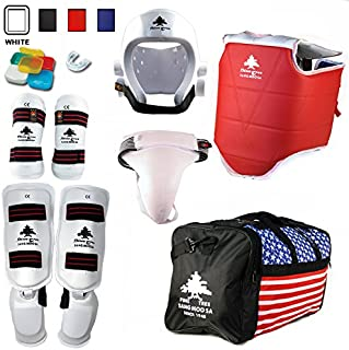 Pine Tree Complete Vinyl Martial Arts Sparring Gear Set with Bag, Shin Insteps, Groin