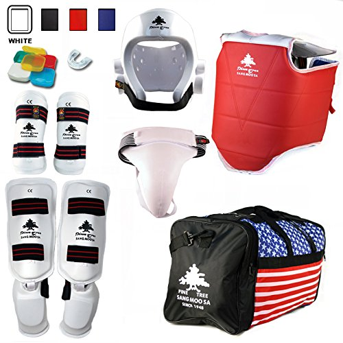 Pine Tree Complete Vinyl Martial Arts Sparring Gear Set with Bag, Shin Insteps, & Groin, Small White Headgear, Child Small Other Gears Male