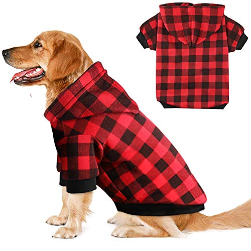 Blaoicni Plaid Dog Hoodie Sweatshirt Sweater for Medium Dogs Cat Puppy Clothes Coat Warm and Soft (M)