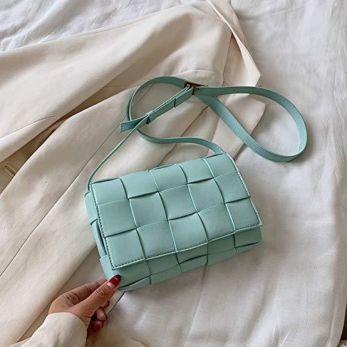 Mdsfe Damen kleine gewebte Ledertasche Neue hochwertige Mode PU Leder Schulter Umhängetasche weibliche Sommerhandtasche - Biankuanblue