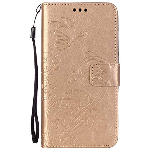 ISAKEN Huawei G8 Hülle, PU Leder Brieftasche Wallet Hülle Cover Ledertasche Handyhülle Tasche Schutzhülle mit Handschlaufe Standfunktion für Huawei G8 / Huawei GX8 - Blume Schmetterling Gold
