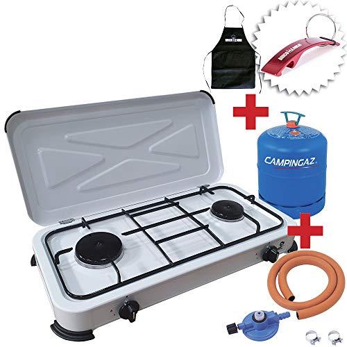 Bricolemar Cocina GSC Evolution para Camping Gas Portátil 2 Fuegos Kit (Incluye Bombona + Regulador + Manguera + Abrazaderas)
