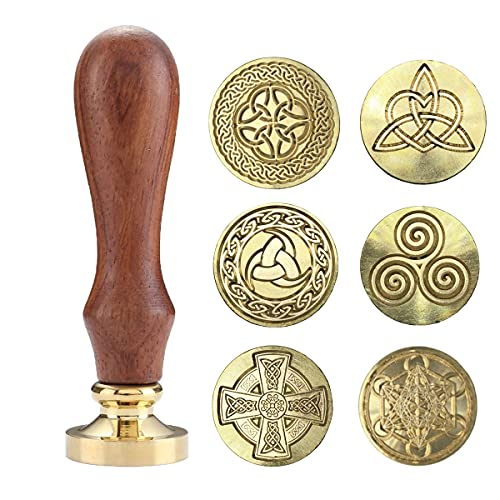 Sealing Wax Stamps Copper Seals with Wooden Hilt, Celtic knot Metatron's Cube wiccan Seal Wax Stamp (6 Wax Stamps 1 Wooden Hilt)