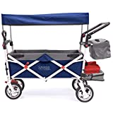 Creative Outdoor Push Pull Collapsible Folding Wagon Cart | Silver Series | Beach Park Garden & Tailgate | Navy Blue