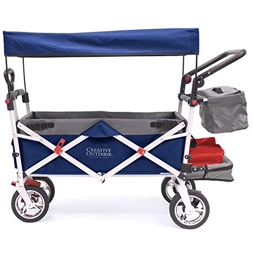 Creative Outdoor Push Pull Collapsible Folding Wagon Stroller Cart for Kids   Silver Series   Beach Park Garden & Tailgate   Navy Blue