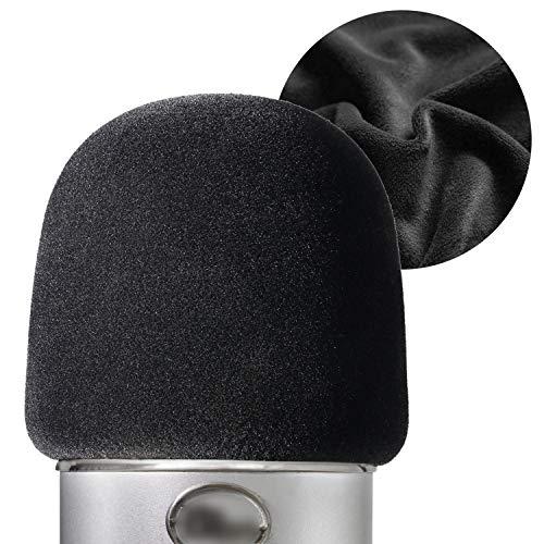 YOUSHARES Flocking espuma micrófono parabrisas – Tamaño grande micrófono cubierta para Blue Yeti, Yeti Pro micrófonos (Negro)