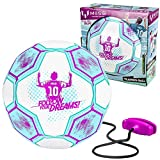 Kids Training Soccer Ball - Size 3 Youth Smart Football with Tether for Juggling, Foot Control, Kicking Practice - Adjustable Cord - Outdoor Soccer Equipment (Pink)