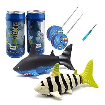 Tipmant Mini RC Fish Shark Toys Radio Remote Control Boat Ship Electric Electronic Pet Animal Swim Water Pool Tub Bathtub Kids Gifts - 2 Pack