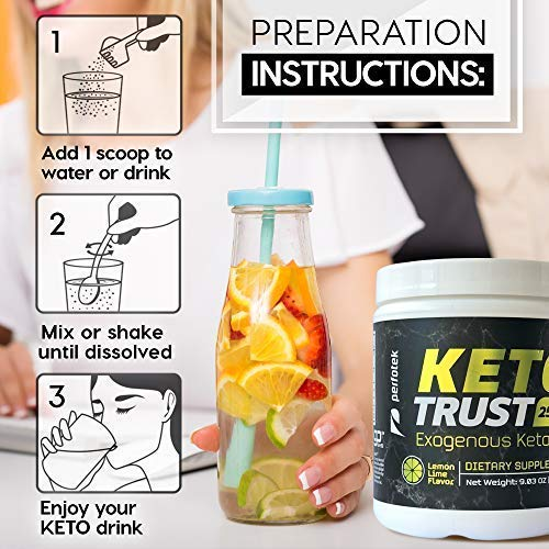 4 Pack Perfotek Keto Powder - Instant Ketosis - Exogenous Ketones Weight Loss Supplements with BHB and Electrolytes for Ketogenic Diet - Lemon Lime 6