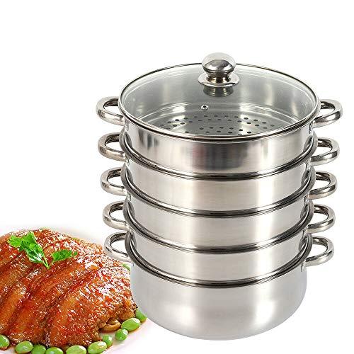 OUKANING Edelstahl Dampfkocher,5 Dampfgarbehälter Dampfkochtopf Geschirr Restaurant Küche Mantykocher, Biodampfkocher/Induktion (30cm)