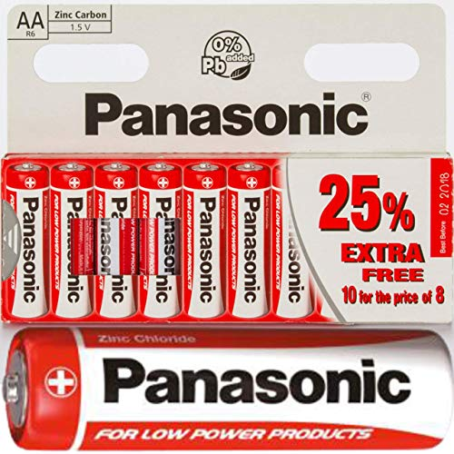 10x AA Batteries Panasonic Special Power Zinc Carbon Long Lasting Batteries for low drain devices batteries for clocks, keyboards, mice, radios R6 1.5V Pack of 10 Included