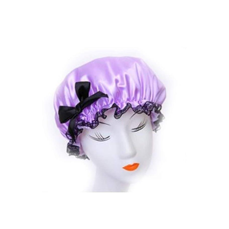 蒸発する幻想繰り返すSMXGF シャワーキャップ、女性のすべての髪の長さと厚さのためのレディースシャワーキャップデラックスシャワーキャップ - 防水やカビ耐性、再利用可能なシャワーキャップ。 (Color : Purple)