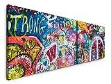 Paul Sinus Art Bunte John Lennon Wand in Prag 180x50cm - 2 Wandbilder je 50x90cm - Kunstdrucke - Wandbild - Leinwandbilder fertig auf Rahmen