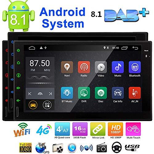 Eincar 7 pulgadas Android 8.1 est¨¦reo Oreo coche 2 din en el tablero de navegaci¨n GPS Bluetooth Radio Tel¨¦fono Jefe Unidad de Apoyo de reflejo de la CAM-EN OBD2 4G / 3G WIFI completa de panel