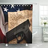 Semtomn Shower Curtain The Second Amendment and Gun Control in Handgun Shower Curtains Sets with 12 Hooks 60 x 72 Inches Waterproof Polyester Fabric