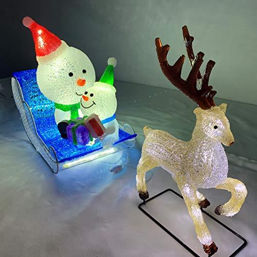 1頭トナカイとスノーマン親子 LEDイルミネーション カラークリスタルモチーフ 屋外仕様