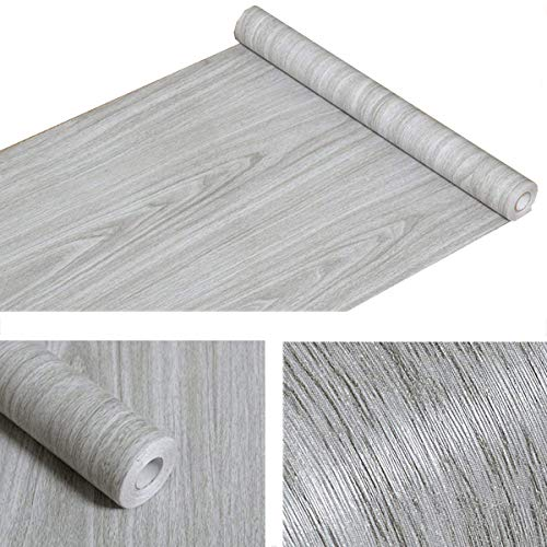 Faux Gray Wood Grain Contact Paper Vinyl Self Adhesive Shelf Drawer Liner for Kitchen Cabinets Shelves Table Counter Top Backsplash Wall Door Sticker Decal 17.7x197 Inches